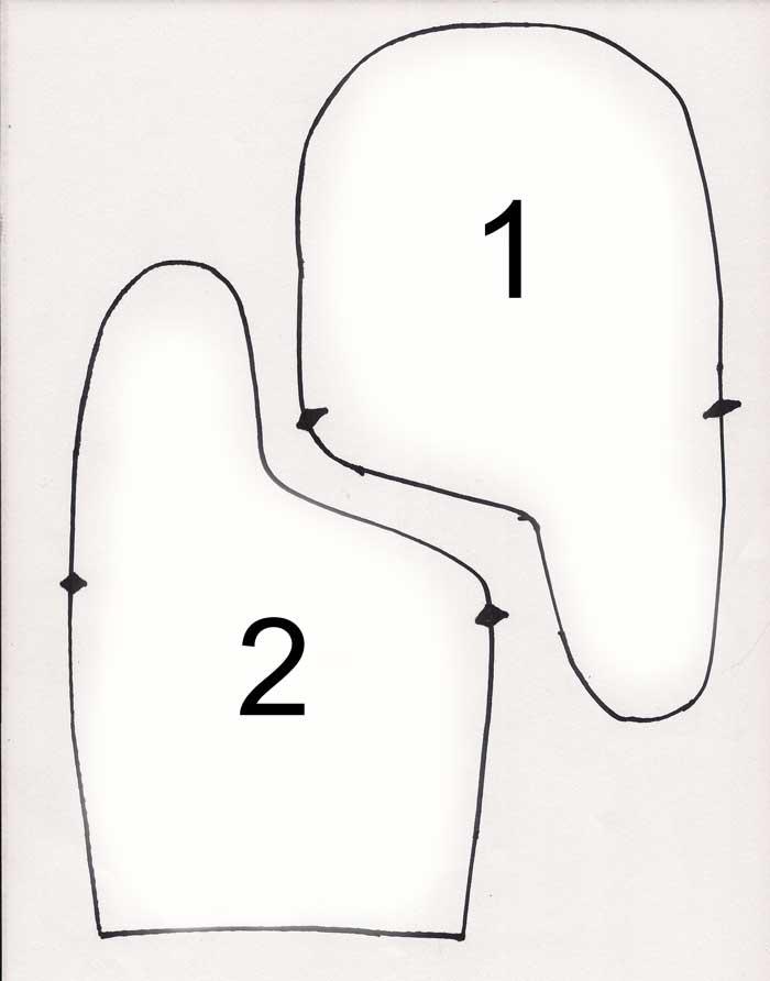выкройка варежки
