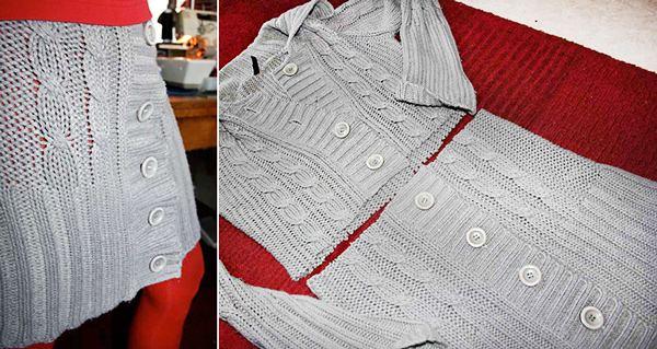 Перешить старый свитер в юбку