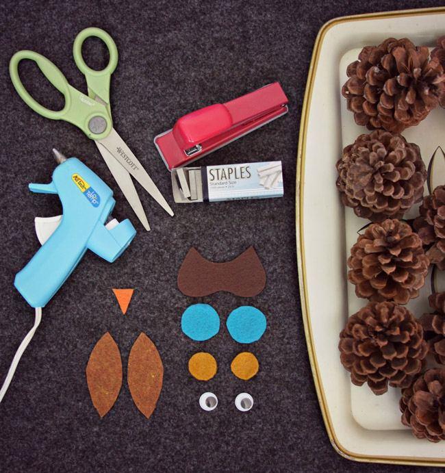 Материалы и заготовки для совы из шишек