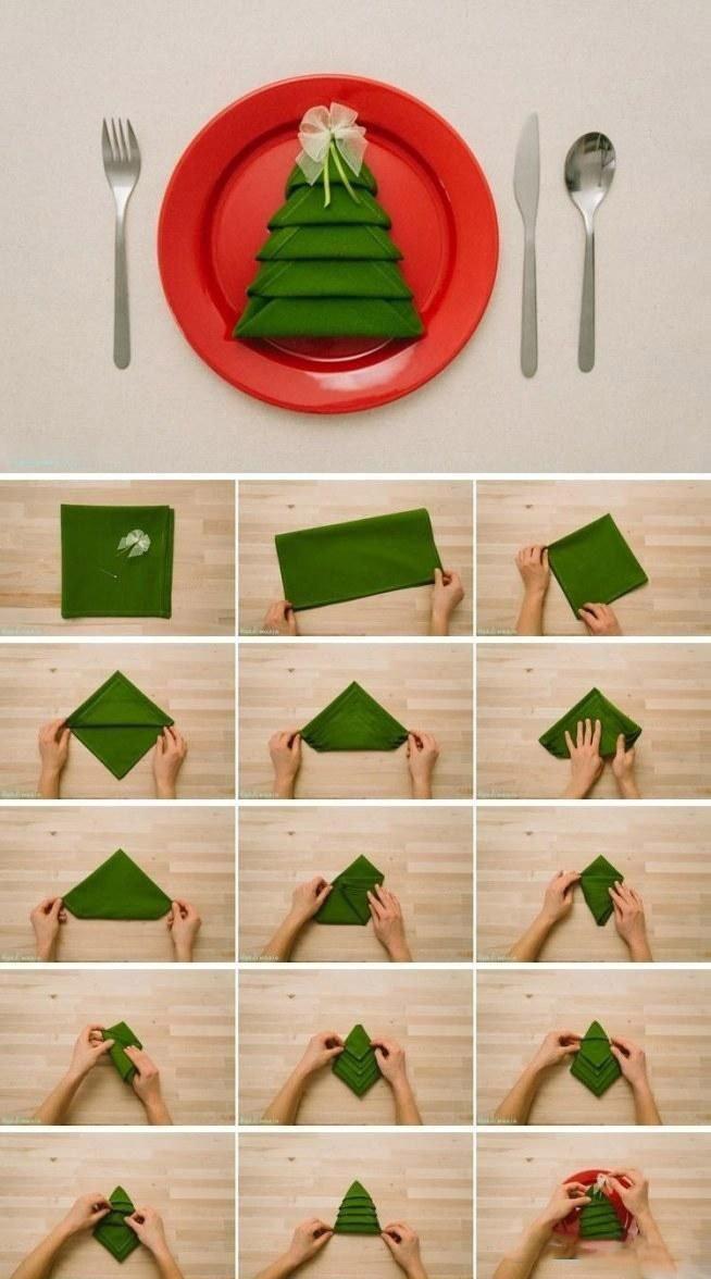 Как сложить салфетку в виде елочки схема