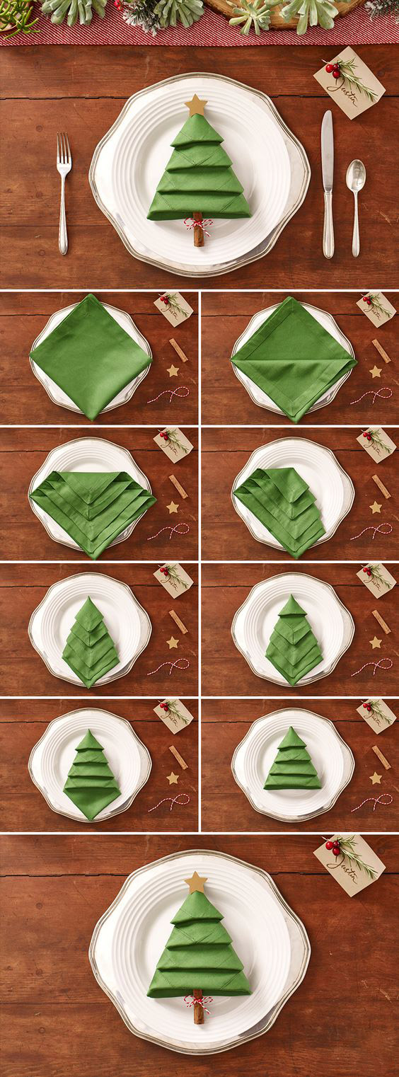 Как сложить салфетку в виде елочки