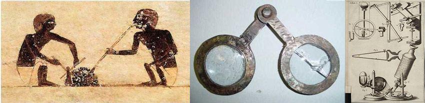 Первое стекло, линзы и микроскоп