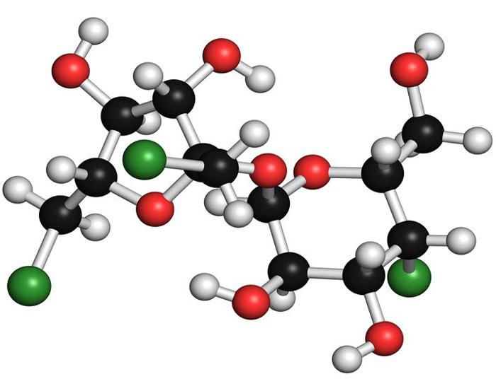 3D молекула сукралозы
